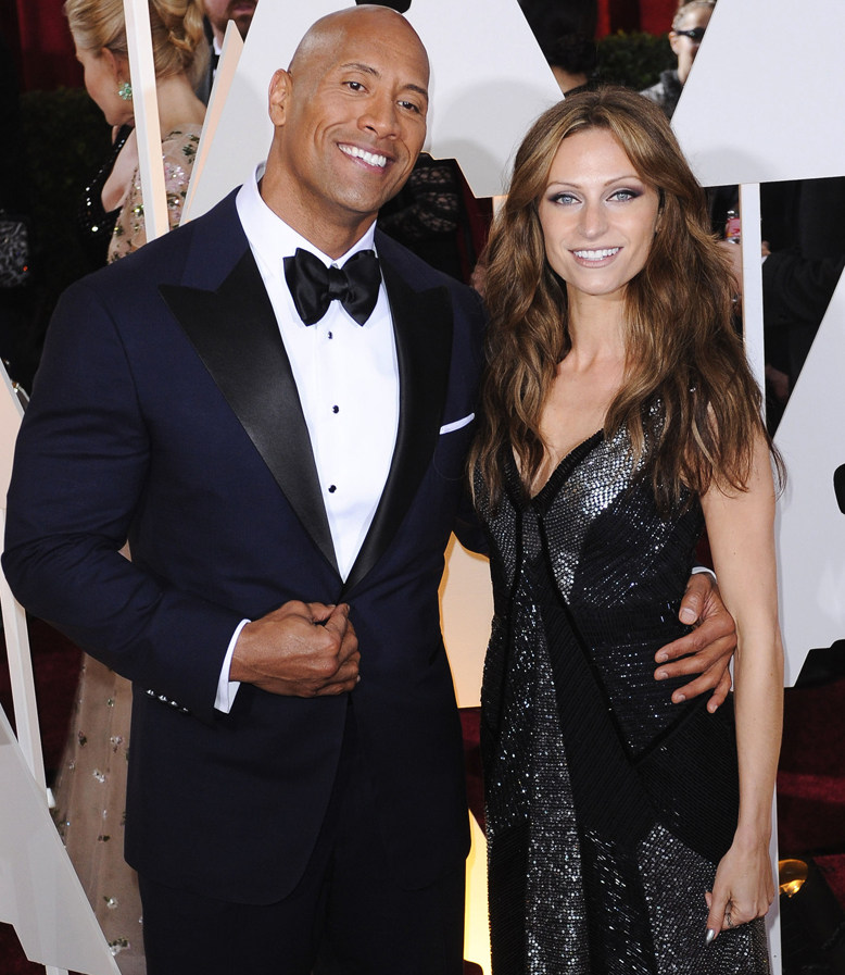 NO JUST JARED USAGE Celebrity arrivals at the 87th Annual Academy Awards. **NO DAILY MAIL SALES** Pictured: Dwayne Johnson and Lauren Hashian Ref: SPL959994 230215 Picture by: Splash News Splash News and Pictures Los Angeles:310-821-2666 New York: 212-619-2666 London: 870-934-2666 photodesk@splashnews.com